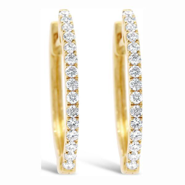 18k Gold Hoop Diamond Earrings 0 31 Ct Tw Jade House