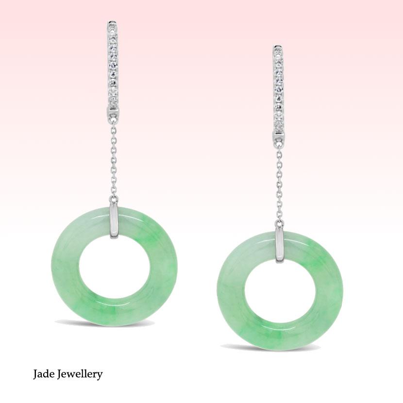 Banner Image 18k White Gold Diamond Jade Dangling Earrings